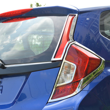 ABS Chrome For Honda Jazz FIT 2014 accessories car styling Car Tail Light cover Cover Trim fit for 2014 honda fit jazz chrome front rear headlight tail light cover trim