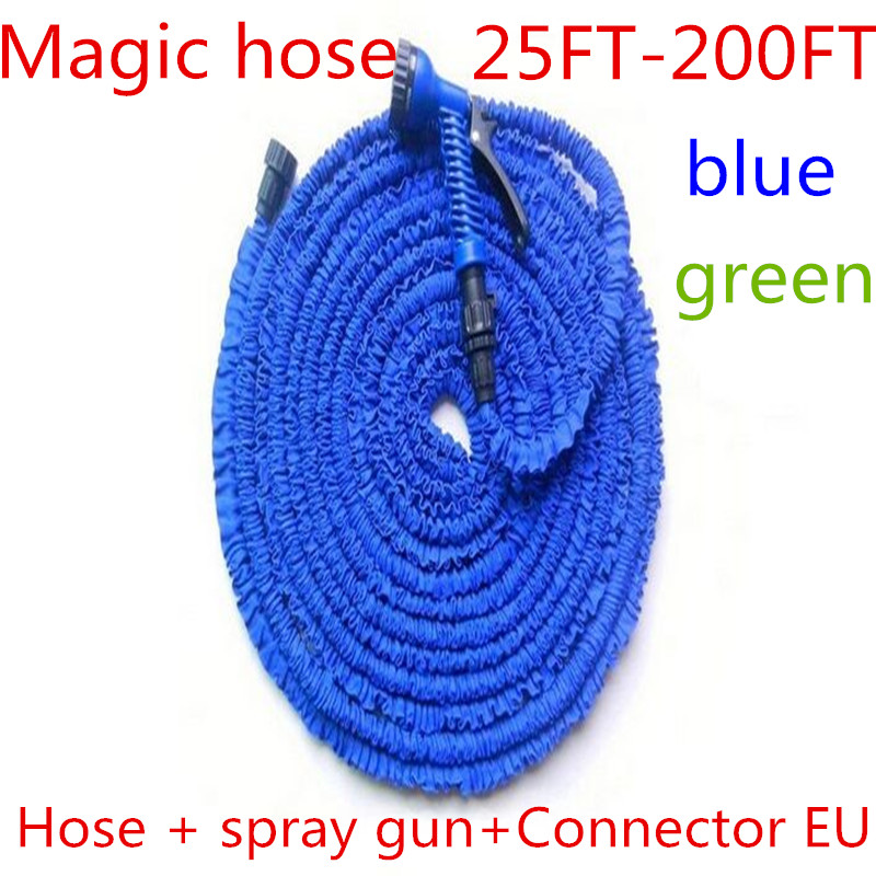Free Shipping Garden hose Stretched 60M hose watering 200FT Blue Magic Expandable Garden Supplies Water Hose with Spray Gun manguera expandible