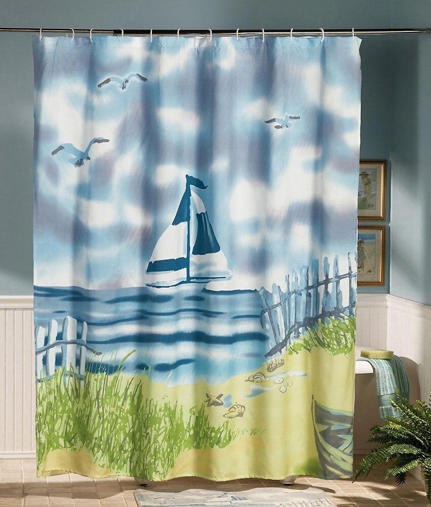 Lighthouse decor for bathroom - Lighthouse Decor Sea Bathroom Shower Curtain By Collections Etc