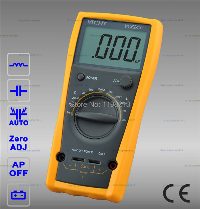 VC6243+ LC Meter Inductance Digital Capacitance 20H high precision digital capacitance inductance meter auto ranging component tester 500kh lc rc oscillation inductance multimeter