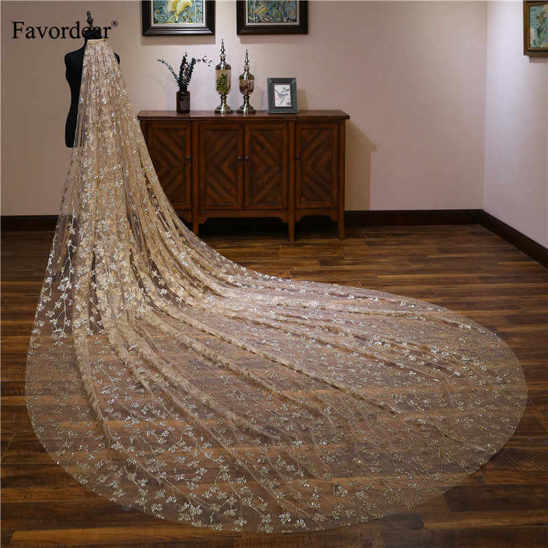 Favordear Top End 4m Sequin Cathedral Wedding Veil Long Velos De Noiva 1 Layer Gold Bridal Veil with Comb Wedding Accessories