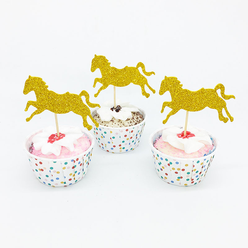 20pcs/lot Gold/Pink Horse Cupcake Topper Theme Cartoon Party Supplies Kids Boy Birthday Party Decorations