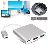 คุณภาพ3in1 USB 3.1ประเภทCถึงHDMIทีวีวิดีโออะแดปเตอร์แปลงAVและUSB 3.0 OTGและUSB Cหญิงชาร์จAdapterสำหรับMacbook Pro