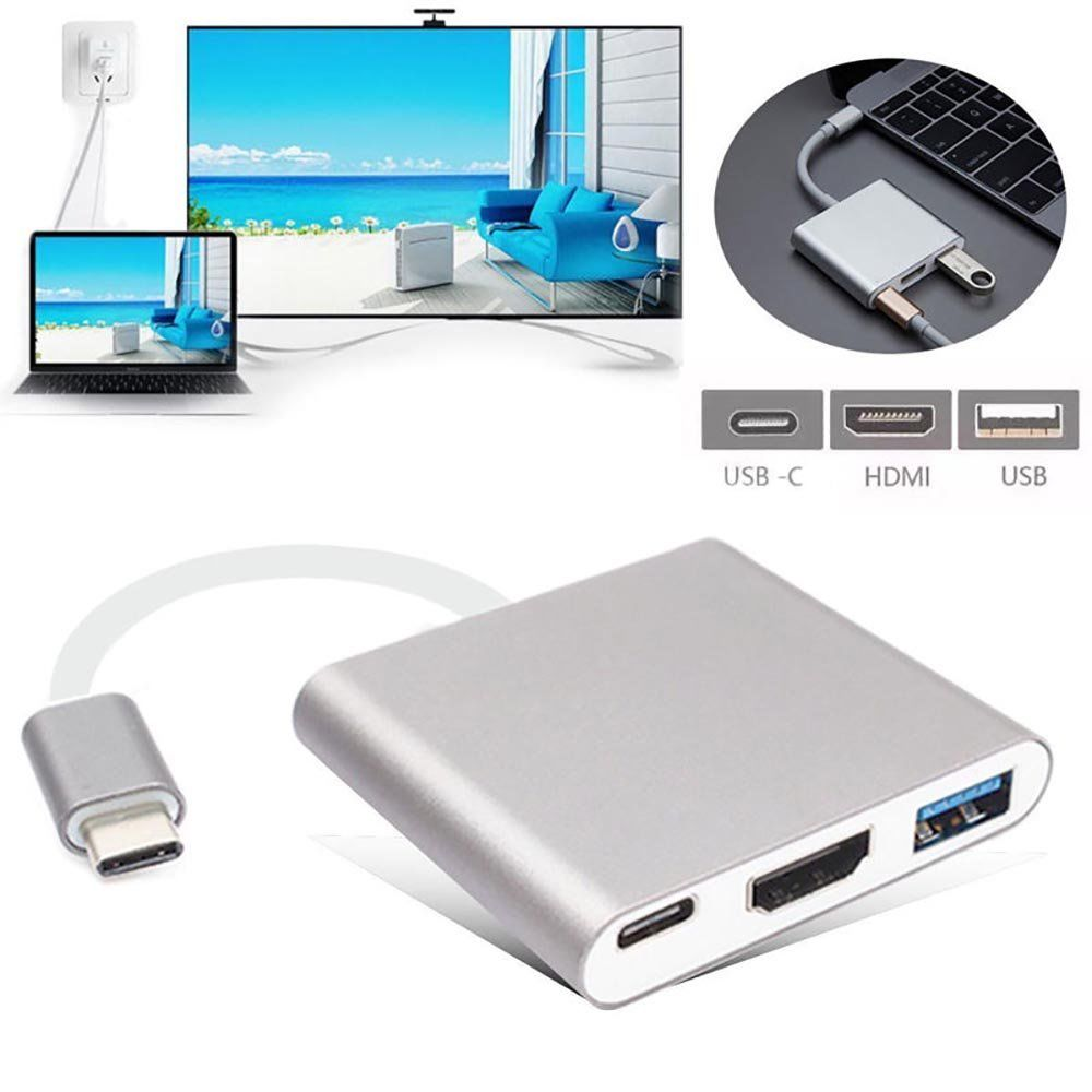 Quality 3in1 USB 3.1 Type C to HDMI TV Video Converter Digital AV & USB 3.0 OTG & USB C Female Charger Adapter for Macbook 12 3in1 usb 3 1 type c hub dp usb c to usb 3 0 hdmi tv projector audio video converter type c female charging adapter for macbook