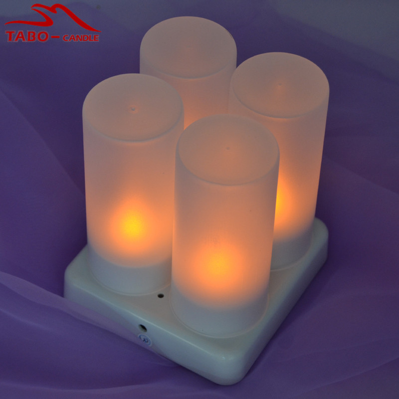 Portable Rechargeable 4pcs/set LED TeaLight Candles Lamps with Flickering Amber Light for Home New Year Christmas Decor