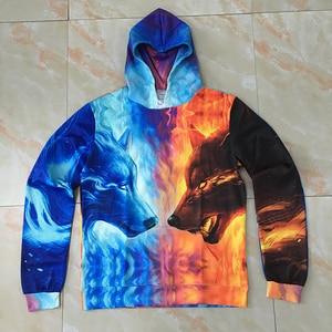 Image 3 - Ice Fire Wolf Hoodies by JoJoesArt 3D Men Women Hooded Pullover Tracksuits Harajuku Hoodies Sweatshirt Men 2018 Casual Animal