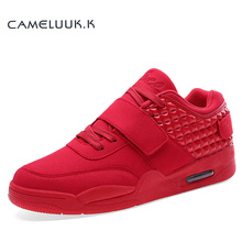 2016 Fashion Autumn Men Casual Shoes Red Suede Leather High Top Men Walking Shoes Breathable Winter Lover Boots Red Botas Blue