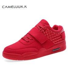 Moda Otoño Ocasionales de Los Hombres Zapatos de Gamuza de Color Rojo de Cuero del Top del Alto de Los Hombres Zapatos Para Caminar Transpirable Amante de Invierno Botas Botas Azul Rojo