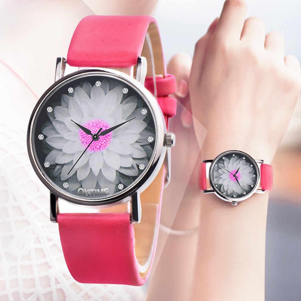 สตรีสุภาพสตรีพิมพ์ดอกไม้ Casual นาฬิกาควอตซ์ reloj mujer relogio feminino часы жнс montre femme zegarek damski saat relgio