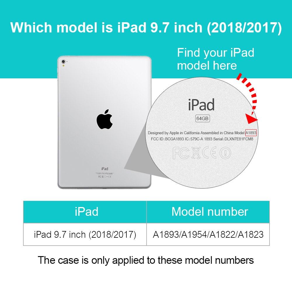 Para iPad 2018 Funda 9.7, GOOJODOQ Ultra Slim PU Leather + Glitter - Accesorios para tablets - foto 6