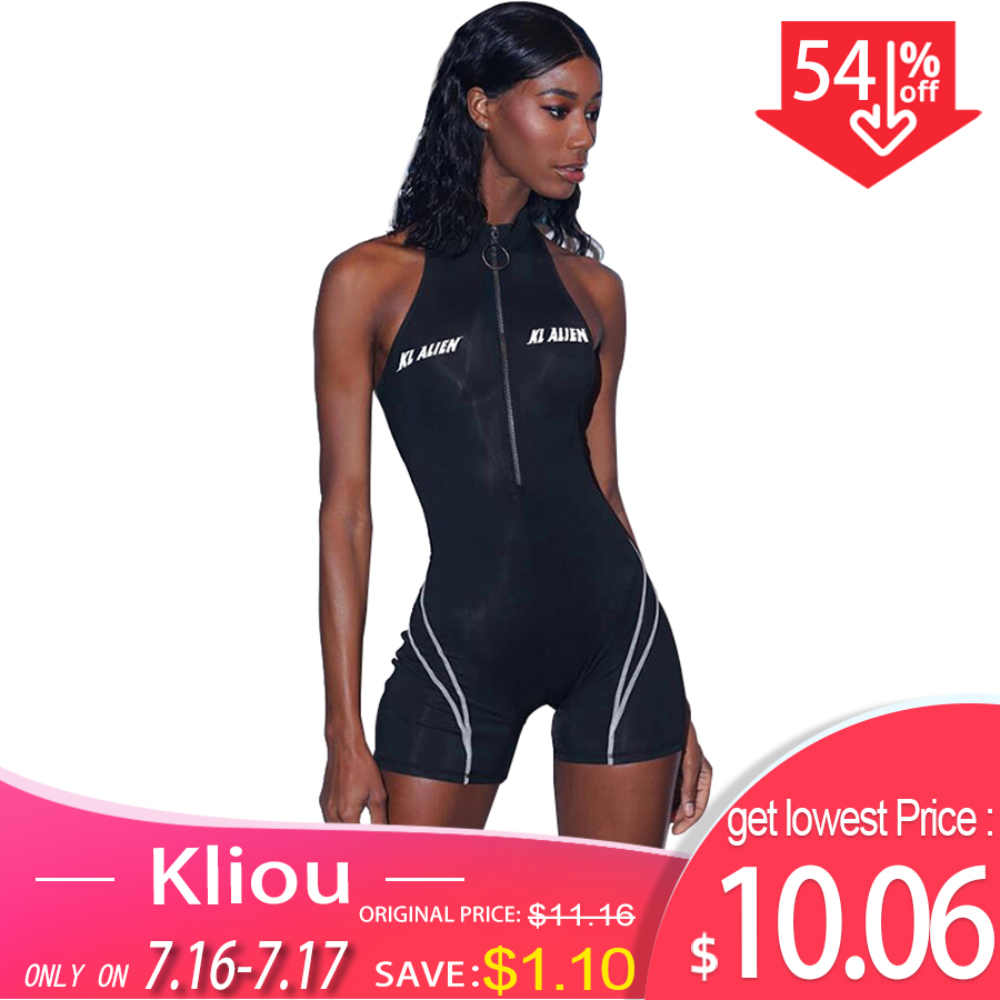 Kliou 2019 women fitness Playsuits sleeveless turtleneck zipper fly letter print patchwork bodysuit sporting skinny outfits Chemisier