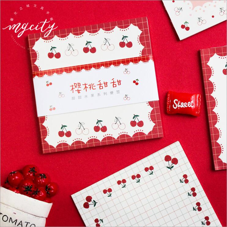 30 Sheets/Set Kawaii Strawberry Cherry Pineapple Memo Pad Note Message Marker Paper Noepad School Student Office Stationery