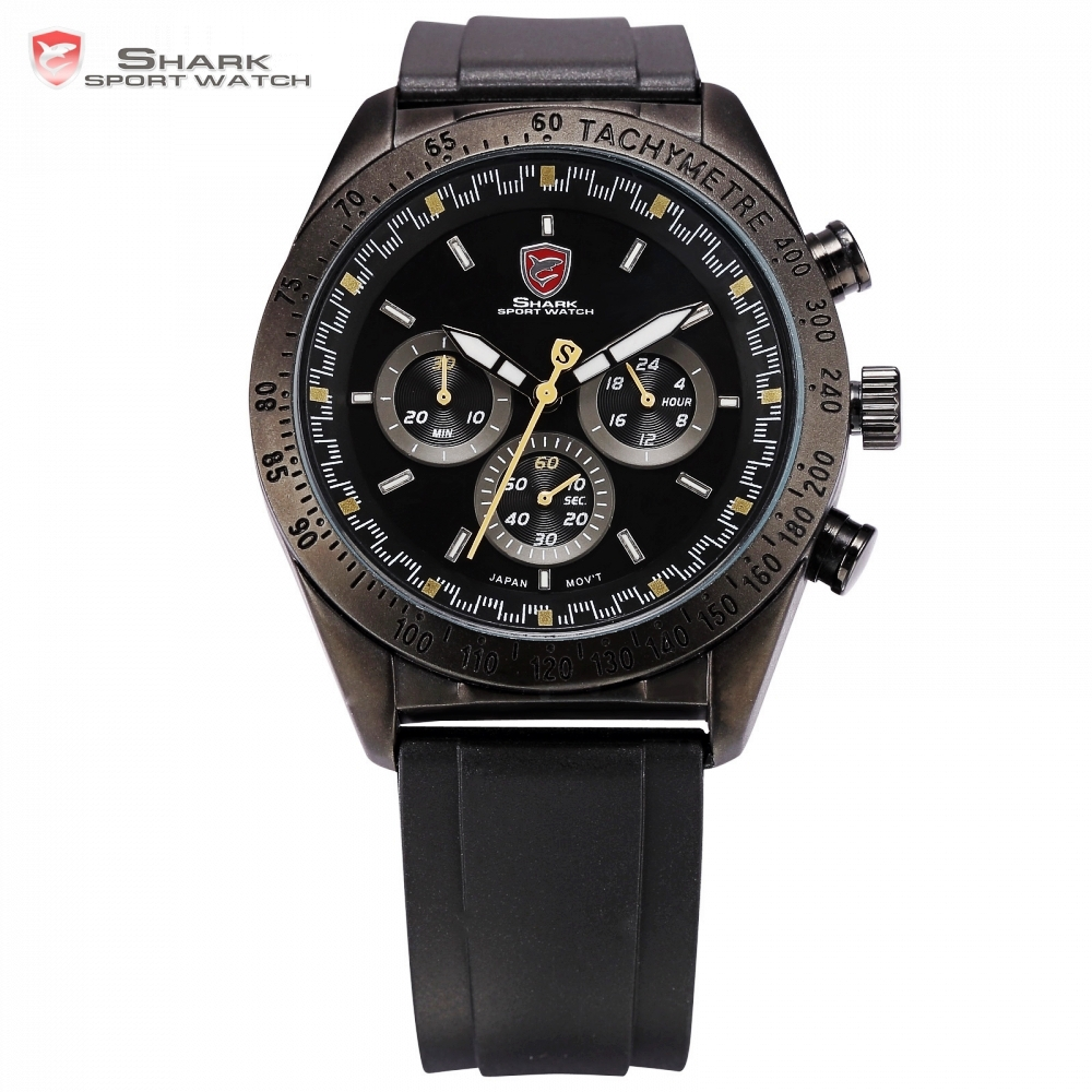 Swell SHARK Sport Watch Full Black 6 Hands Steel Case Relogio 24Hrs Chronograph Rubber Strap Male Quartz Military Watches /SH273