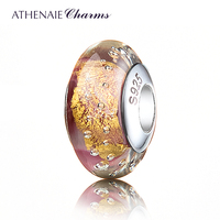 ATHENAIE Genuine Murano Glass 925 Silver Core Gold Foil Charm Bead Fit All European Bracelets Color