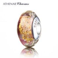 ATHENAIE Genuine Murano Glass 925 Silver Core Gold Foil Charm Bead Fit All European Bracelets Color