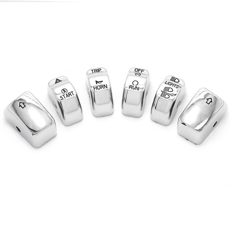 6x ABS Plastic New Replacement Chrome Switch Cap Set 1996-2013 For Harley Touring Softail Dyna Models W/Radio & Cruise