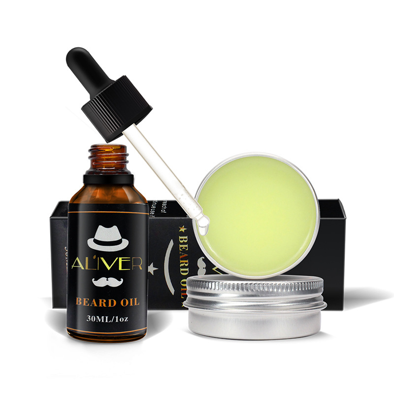 Beard Balm Natural Oil Conditioner Beard Care Moustache Wax Men Moustache Grooming Gentlemen's Beard care set YF2018