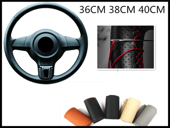 Braided car steering wheel cover pin and thread imitation leather for BMW all series F-series E46 E90 F09 1 2 3 4 5 6 7 X E image