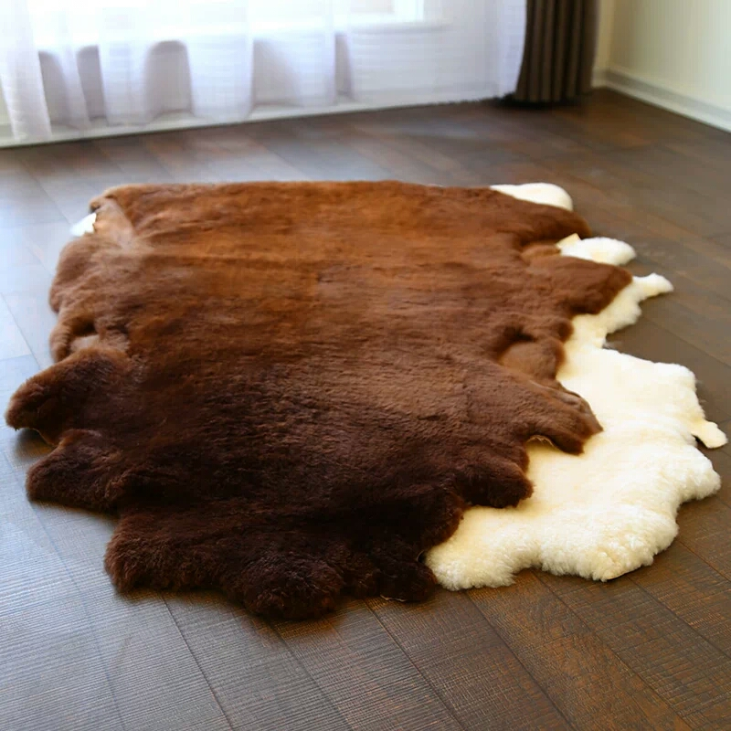 Natural Uncut sheared sheepskin rug 80*100cm sheep skin carpet for home decor sofa cover blanket bedroom slide carpet doormat