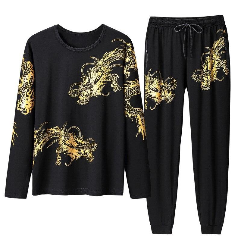 2019 nouveau printemps été hommes sport costume sweat + pantalon coton imprimé survêtement deux pièces ensemble pour hommes Style chinois vêtements