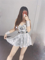 Bar Ds Costume New Nightclub Female Singer Gogo Dance Dress Sexy Sequined Princess Dress Singer Costume Beyonce Rave Outfit
