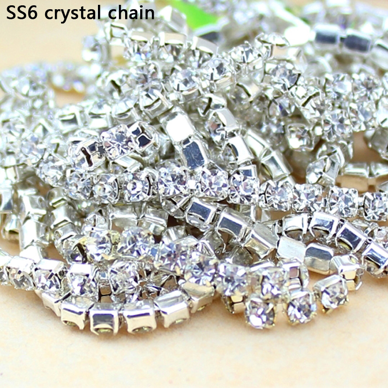 QIAO 10Yards SS6 2MM Crystal Rhinestone Chain DIY Sew On Silver Base Density Trim Strass Crystal Cup Chains For Dress chain