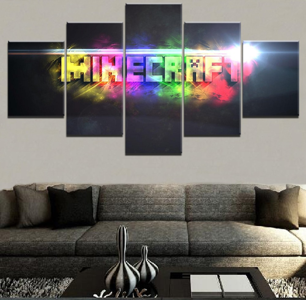 Us 51 49 Offmodern Painting On Canvas Wall Art Frame Home Decor Hd Printed 5 Pieces Minecraft 7 Colour Logo Modular Pictures Game Posters In