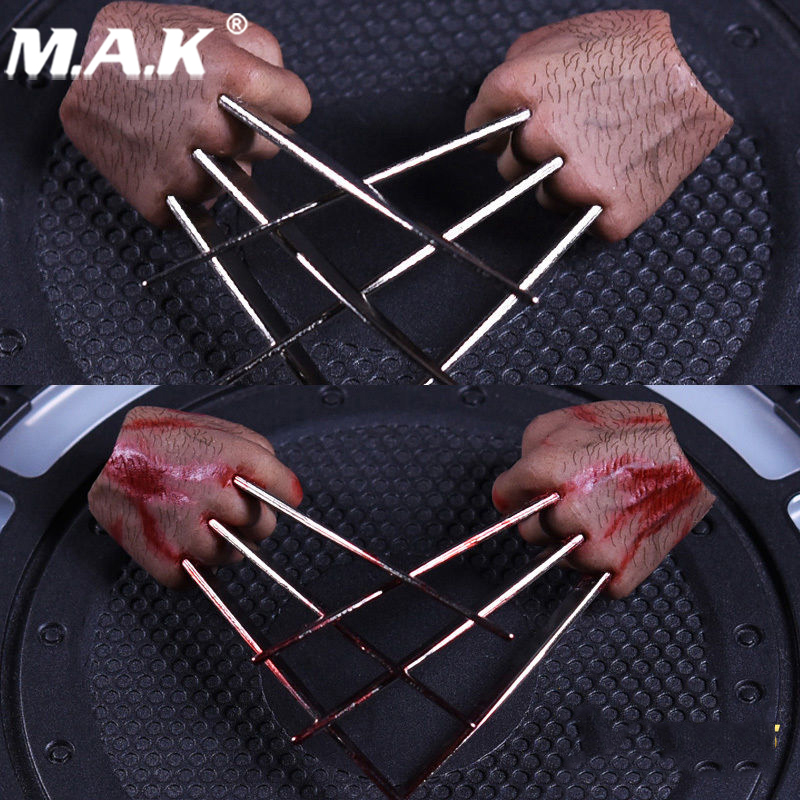 1/6 Scale metal Claws Hand Types realistic hair  For Wolverine Logan Figures Bodies  With Blood or Without Blood bodies the whole blood pumping story