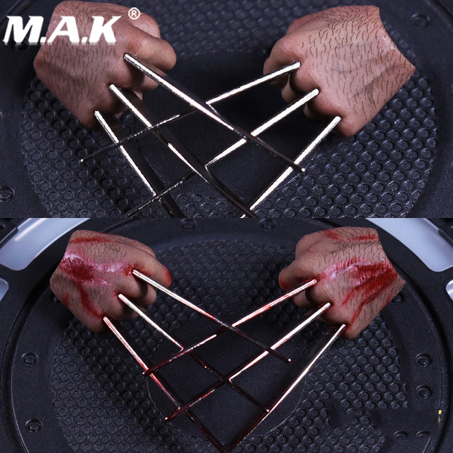 1/6 Scale metal Claws Hand Types realistic hair  For Wolverine Logan Figures Bodies  With Blood or Without Blood