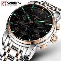 Роскошные мужские часы тритий светлый сапфир стекло из нержавеющей стали с календарем недели автоматическая машина черные часы relogio masculino