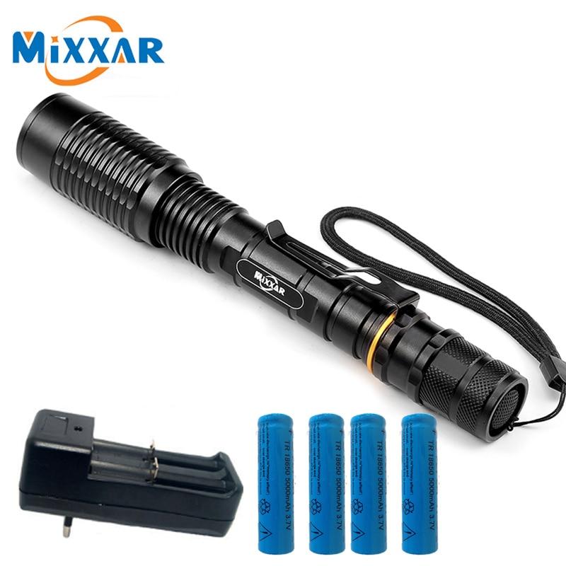 V5 CREE XM-L T6 8000Lumens LED Flashlight 5-Modes Adjustable Torch light suitable two 5000mAh batteries Telescopic Lamp