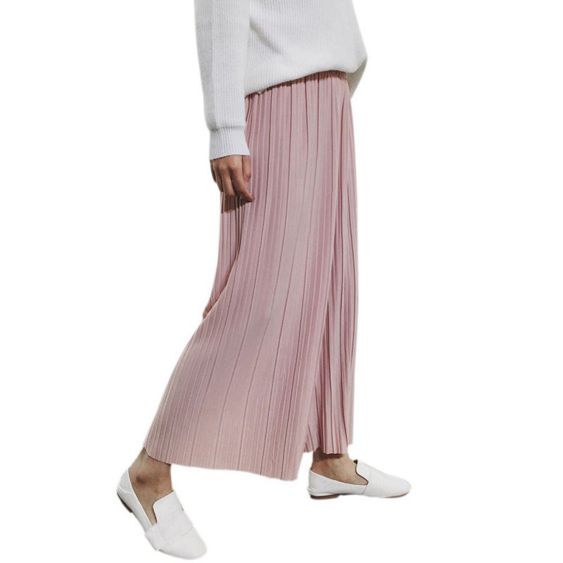 Autumn Women Chiffon High Waist Trousers Pants Loose Casual Style Solid Color Pants Wide Leg Pants