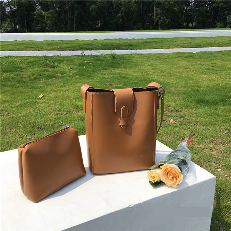 Adjustable Strap Bucket PU Leather Women Crossbody Bags Multi-Use Handbag Big Capacity Composite Bag