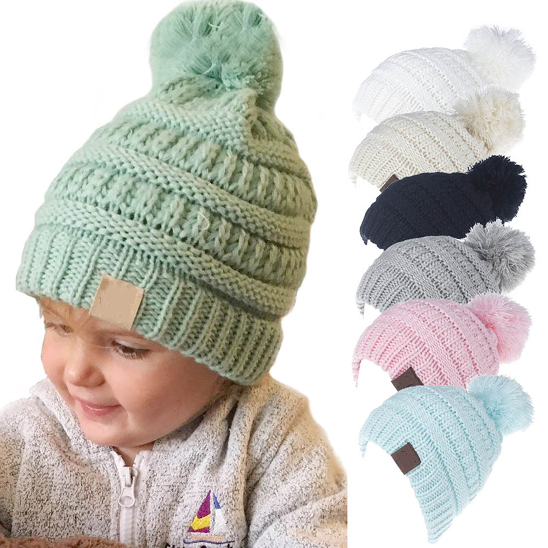 Kids Pom Pom Hats Beanie Knitted Hat Baby Boy Girls Winter