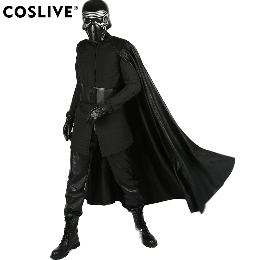 Coslive Star Wars 8 Quilted Tunica Kylo Ren Lunga Gilet con maniche staccabili Costume Cosplay Adulti Halloween Outfit