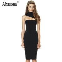 Abasona Одно плечо оболочка bodycon карандаш dress Sexy холтер вырез бинты элегантные Платья партии vestidos твердые женщины клубная одежда