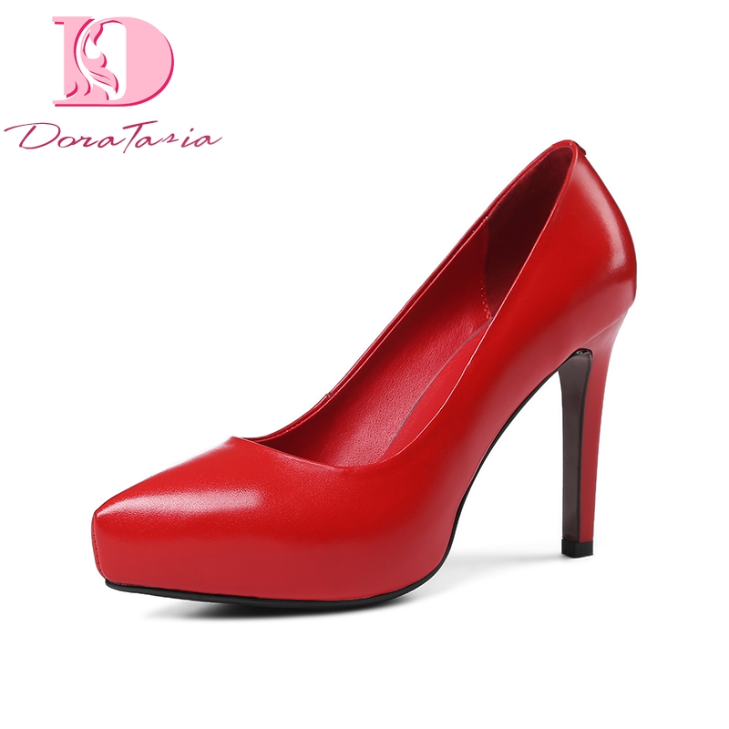 DoraTasia 2018 spring autumn concise genuine leather women pumps lady super high heels ol shoes woman slip-on shallow footwear xiaying smile woman pumps british shoes women thin heels style spring autumn fashion office lady slip on shallow women shoes