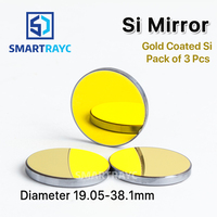Smartrayc High Quality Si Mirror D19.05 20 25 30 38.1mm Coated Gold for CO2 Laser Engraving Cutting Machine Can Fast Shipping