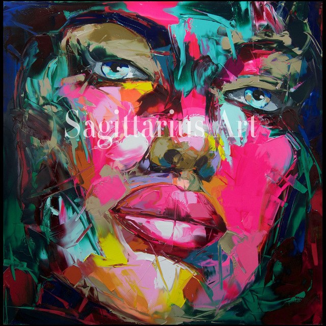Francoise Nielly designer Hand Painted high quality Cool face Art ...