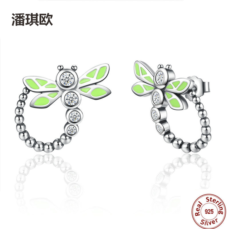 New Unique Design 925 Sterling Silver Vivid Green Dragonfly Animal Drop Earrings For Women Compatible with pan Jewelery