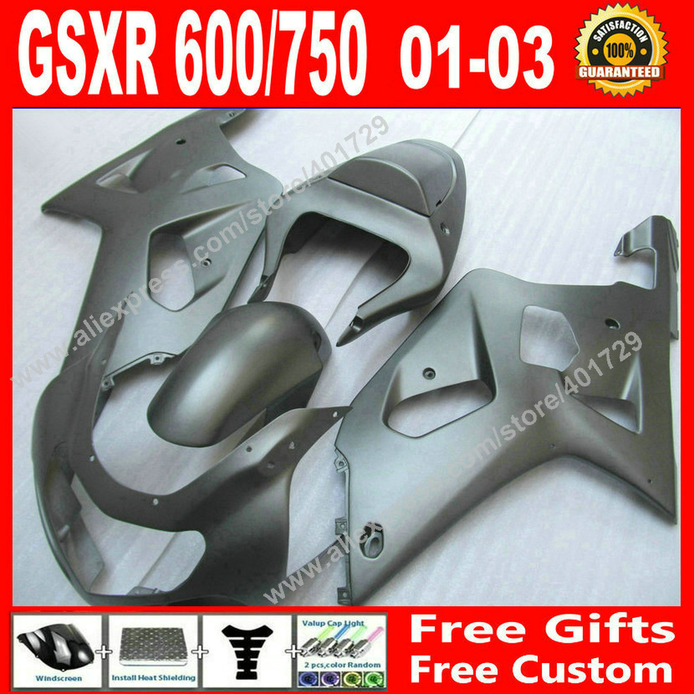 Hot sale Fairings for flat black SUZUKI 2001 2002 2003 bodywork GSXR 600 750 motocycle parts 01 02 03 fairing kits 7 gift GY97