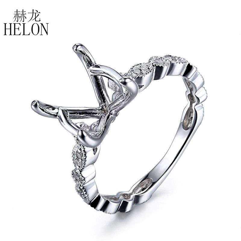 HELON 10 11mm Round Cut Solid 10K White Gold Semi Mount Pave Natural Diamonds Ring Engagement
