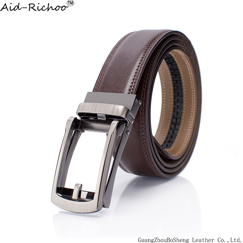 New Fashion Automatic Buckle Top Quality Holeless Genuine Leather Strap Casual Ratchet Brown Belt Waistband Women Men sport