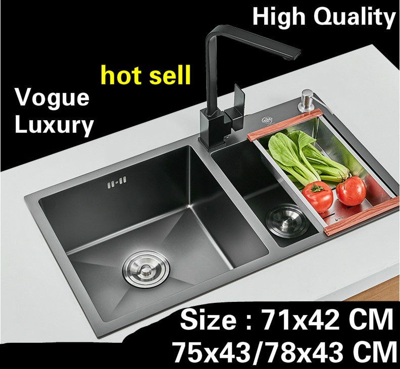 Free shipping Apartment deluxe kitchen manual sink double groove 304 food grade stainless steel hot sell  71x42/75x43/78x43 CM Free shipping Apartment deluxe kitchen manual sink double groove 304 food grade stainless steel hot sell  71x42/75x43/78x43 CM
