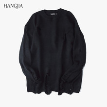 European and American Streetwear Destroyed Vintage Sweaters Men and Women Loose Hole Round Neck Tide Knit Sweater Hip-hop