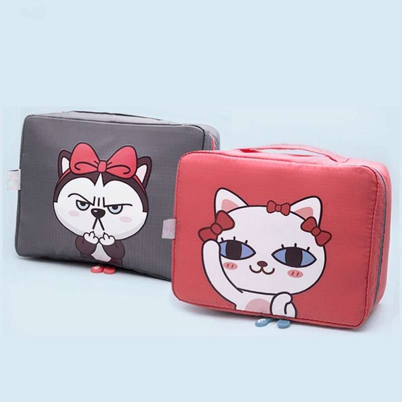 PACGOTH Japanese and Korean Style Kawaii Oxford Super Big Storage Special Purpose Bag Cosmetic Cases Cute Animal Prints Dog Cat женские брюки other japanese and korean brands