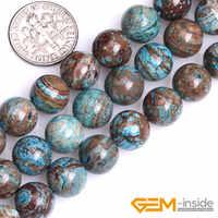 """Perle ronde de bijoux de mode Agat en dentelle bleue teinte lisse pour collier ou Bracelet faisant des perles en gros! Brin 15"""""""