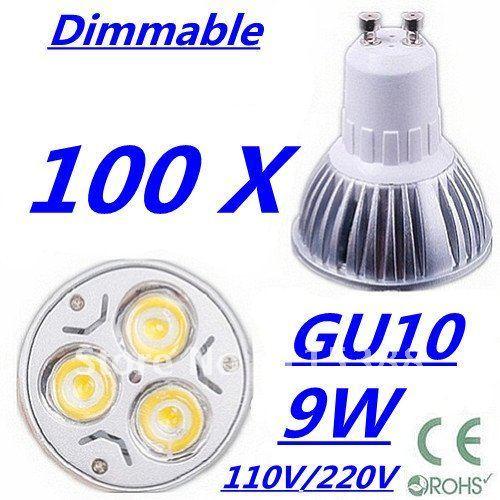 100pcs Dimmable High power GU10 3x3W 9W 110V/220V led Light Lamp Downlight led bulb spotlight Free shipping UPS FEDEX and DHL
