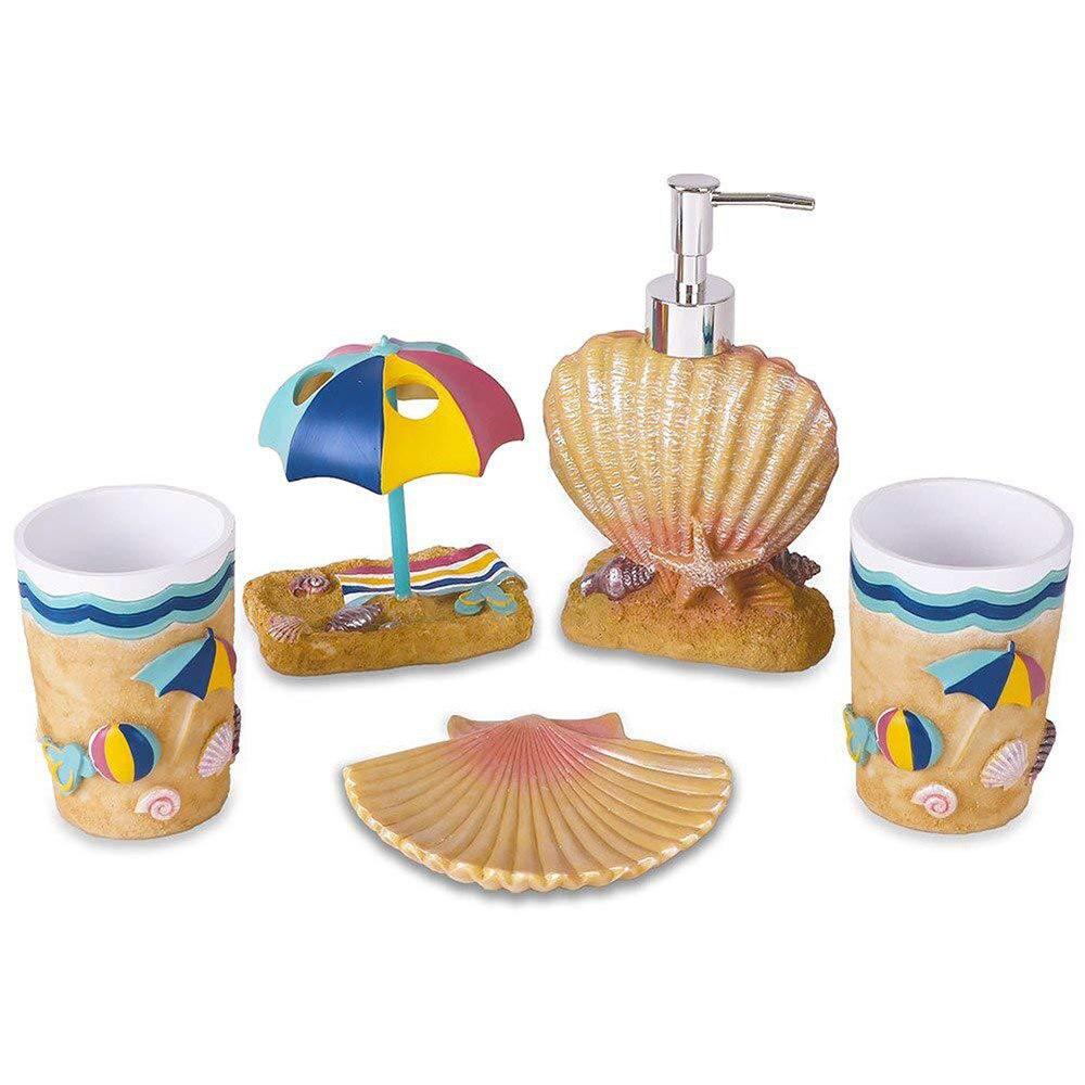 5 pièces Creative bord de mer style hawaïen salle de bain bouteille bain de bouche tasse porte-brosse à dents boîte à savon brosse à dents tasse salle de bain ensembles - 4