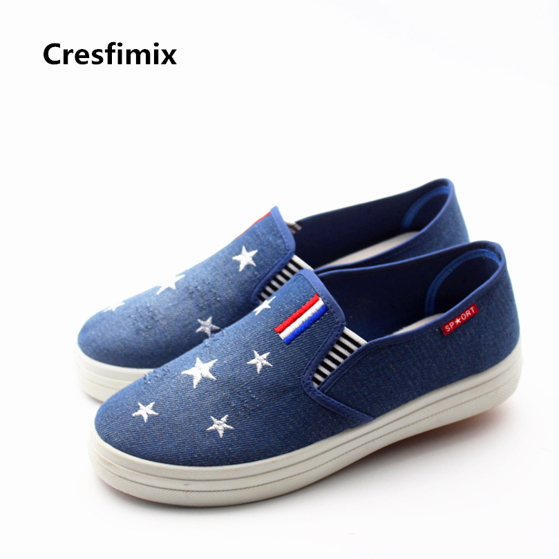 Cresfimix zapatos de mujer women casual spring & summer slip on canvas flat shoes lady cute denim street loafers cool shoes cresfimix zapatos de mujer women fashion pu leather slip on flat shoes female soft and comfortable black loafers lady shoes